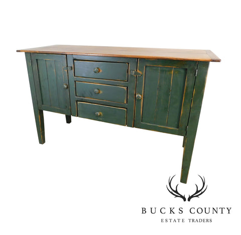 Country Pine Custom Crafted Green Painted Sideboard