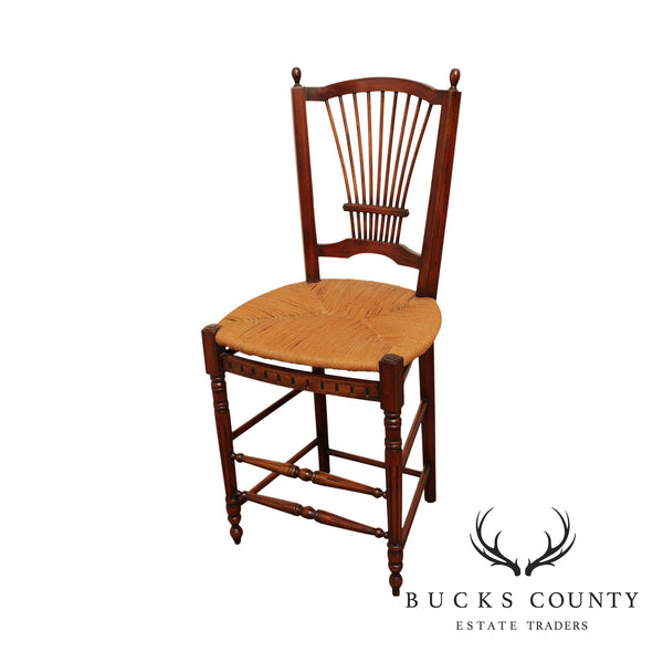 French Country Style Wheat Back Rush Seat Bar Stool