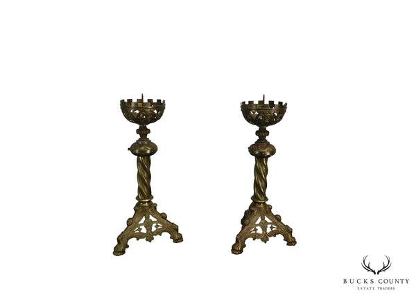 Victorian Gothic Renaissance Aesthetic Pair Brass Candle Prickets