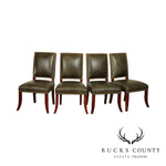 Ethan Allen Faux Reptile Green Leather Set 4 Dining Chairs