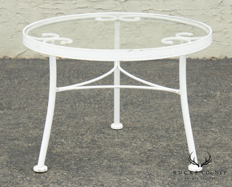 "Woodard ""French Country"" Wrought Iron Round Glass Top Patio Side Table"