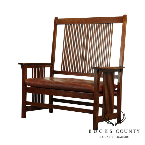 Stickley Mission Collection Oak Spindle Settee Bench