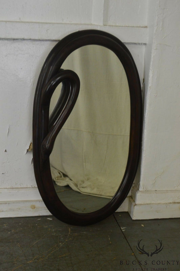 Art Nouveau Style Carved Mahogany Oval Swan Neck Mirror