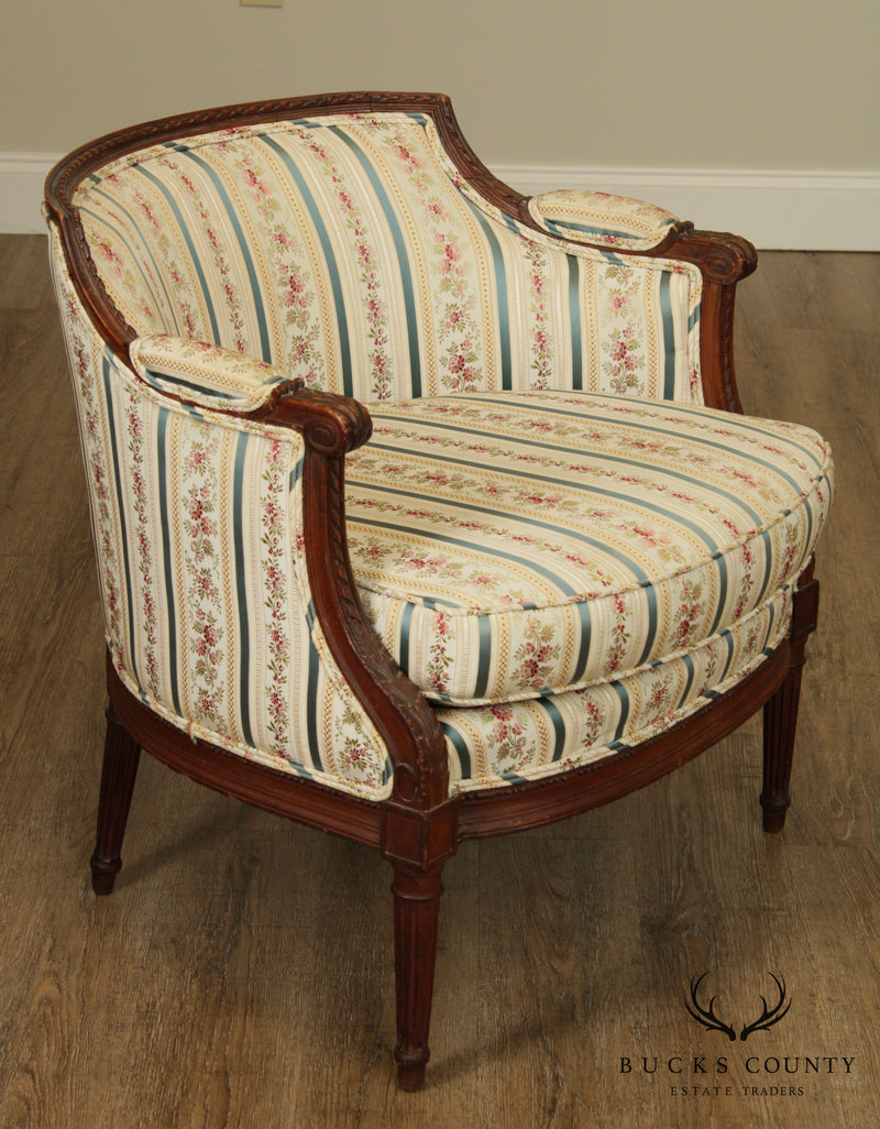 "French Louis XVI Style ""Dutchesse Brisée"" Antique Bergere Chaise Lounge"