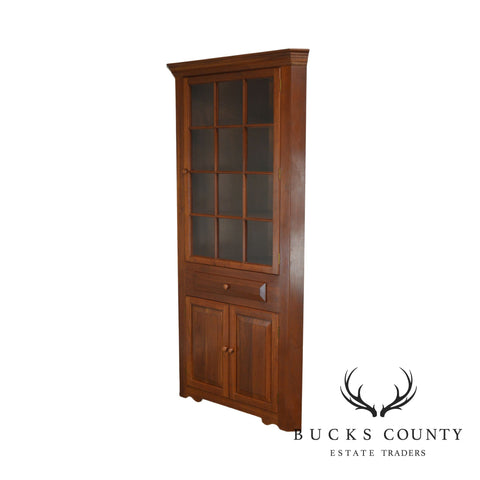 Hand Crafted Solid Cherry Wood Country Style Corner Cabinet by Henry J. Goodyear