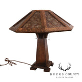 Arts & Crafts Limbert Style Custom Oak Mica Shade Table Lamp
