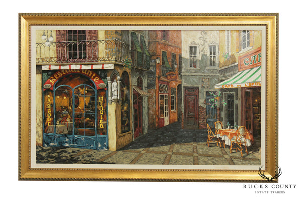 "Viktor Shvaiko ""Plaza Del Correo Canv Delu"" Framed Giclee Painting on Canvas"