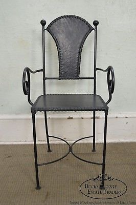 Wrought Iron & Leather Arm Chair