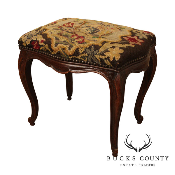 French Louis XV Style Antique Needlepoint Footstool