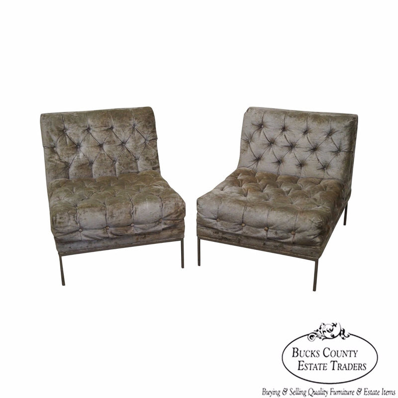 Milo Baughman Pair of Mid Century Modern Chrome Frame Tufted Lounge Chairs (B)
