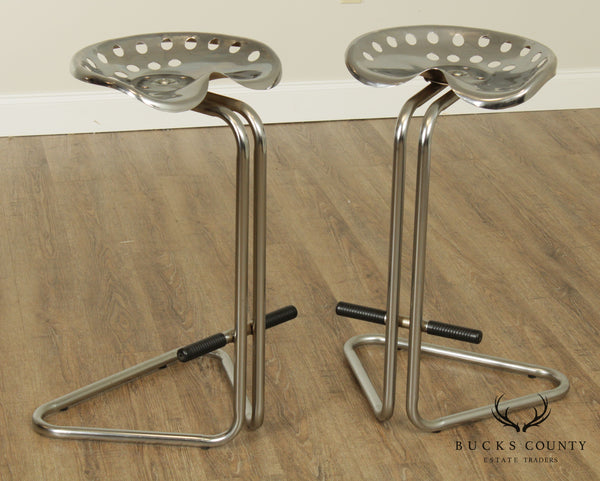Vintage Pair Chrome Tractor Seat Bar Stools