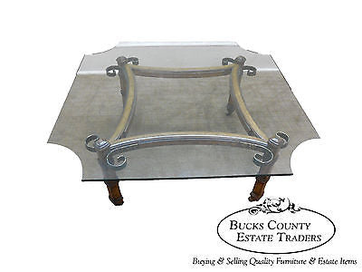 Vintage Spanish Mediterranean Style Walnut Scrolled Metal Glass Top Coffee Table
