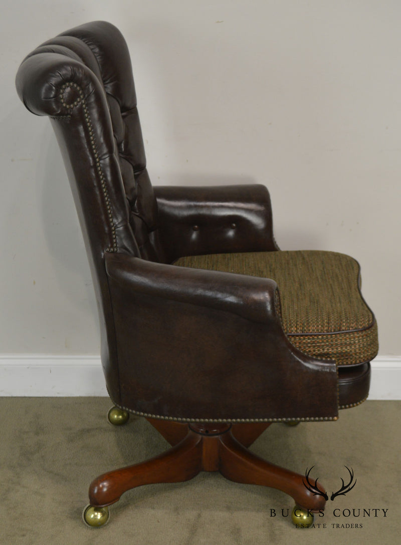 Kittinger Tufted Brown Leather Swivel Executive Desk Chair