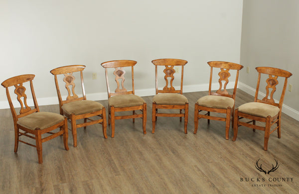 French Country Style Set 6 Oak Dining Chairs
