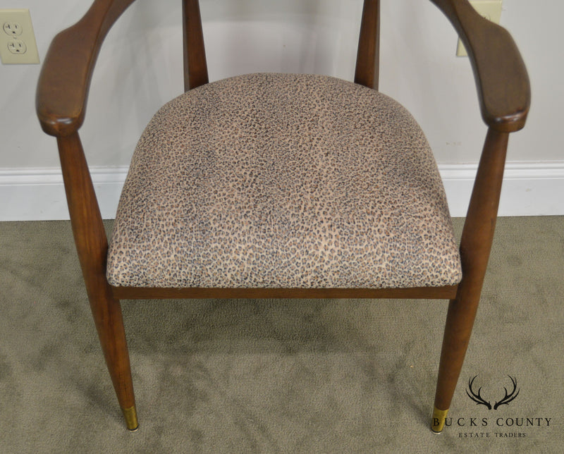 Mid Century Modern Pair Carved Back Walnut Arm Chairs