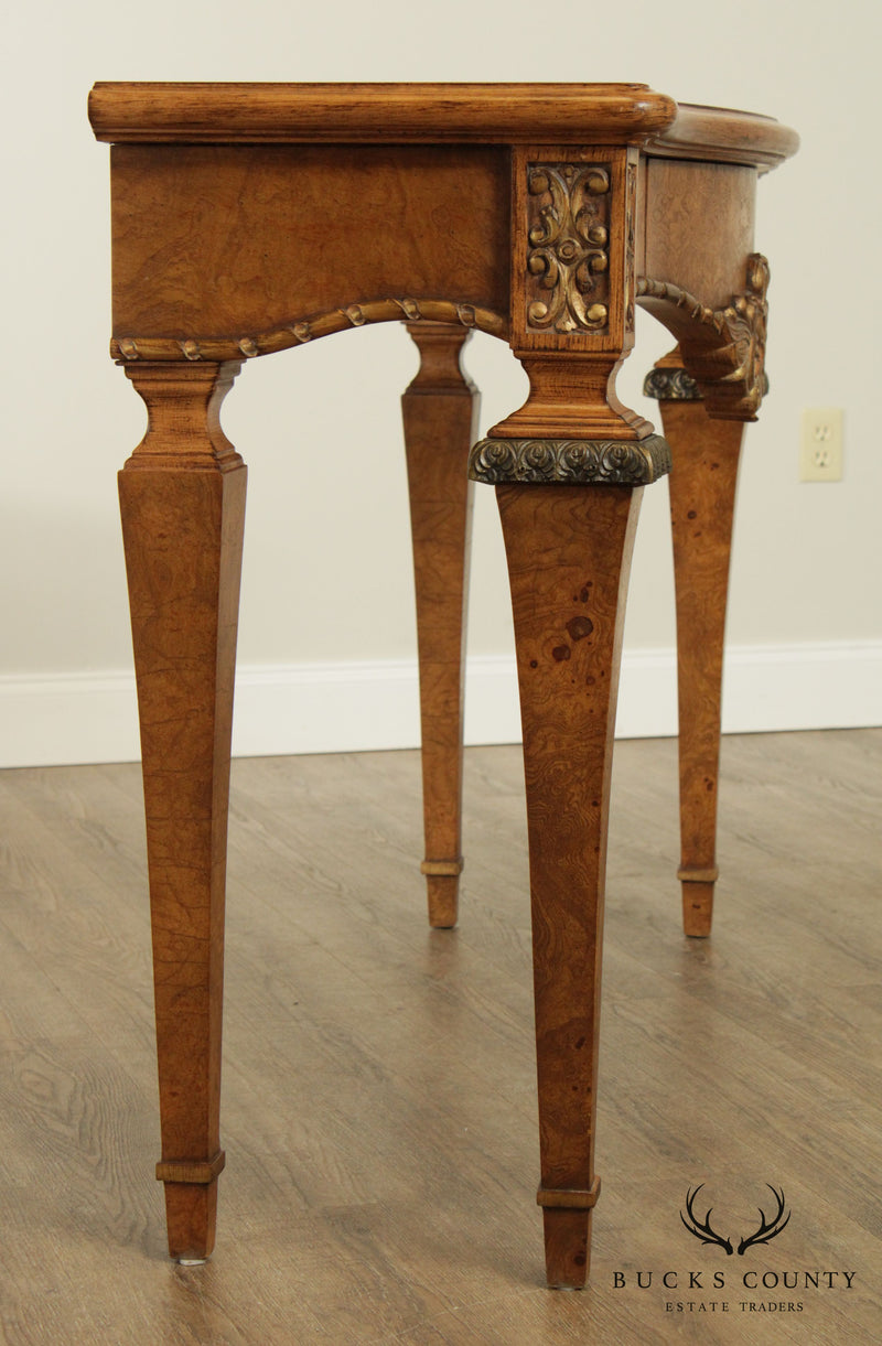 Jeffco French Louis XVI Style Burl Wood Console Table