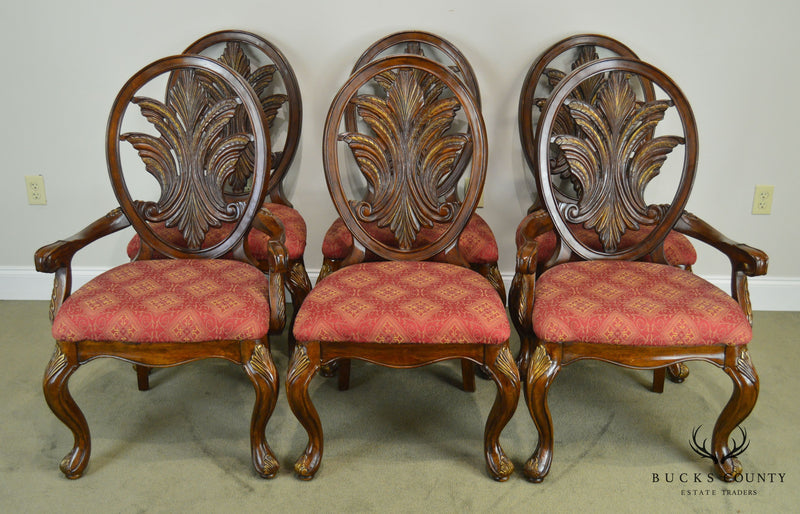 Bassett French Rococo Style Carved Back Set 6 Dining Chairs