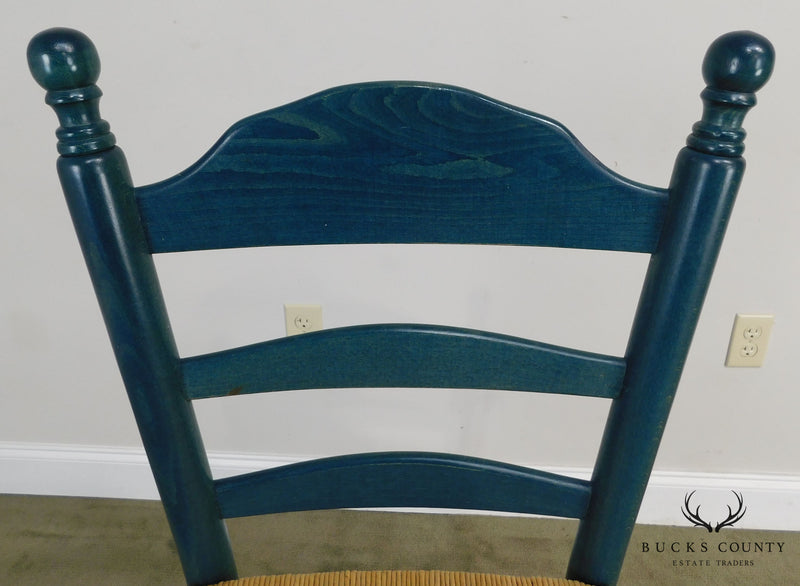 Country Style Blue Painted Rush Rush Seat Ladder Back Counter Stools