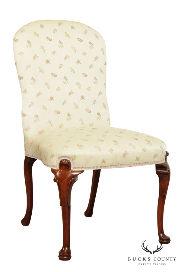 Hickory Chair Mahogany Queen Anne Upholstered Side Chair