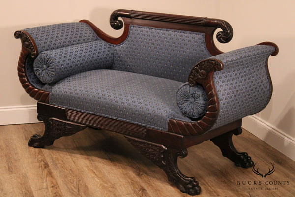 Antique American Mahogany Empire Claw Foot Settee or Loveseat