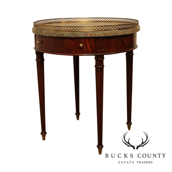Maitland Smith Louis XVI Style Round Mahogany, Tessellated Marble Top Bouillotte Table