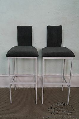 Minson Quality Set of 4 Mid Century Modern Style Metal Frame Bar Stools