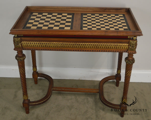 French Louis XVI Antique 19th Century Walnut Game Table W/ Roulette