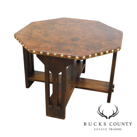 Antique Mission Oak Octagon Leather Top Game Table