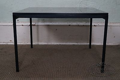 Mid Century Modern Black Square Metal Base Side Table possibly Knoll