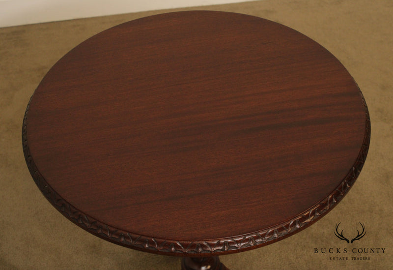 A. Cooper Bucks Country Hand Crafted Round Solid Mahogany Queen Anne Pedestal Side Table