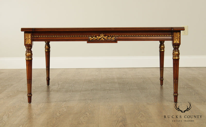 Karges French Directoire Louis XVI Style Mahogany Partial Gilt Square Coffee Table