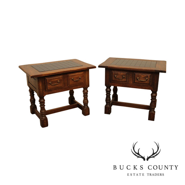 Jacobean Style Vintage Oak Pair One Drawer Side Tables