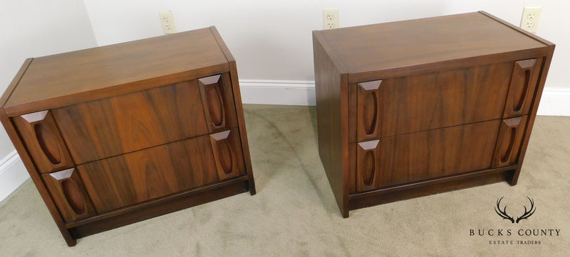 Mid Century Modern Pair of Walnut 2 Drawer Chest Nightstands