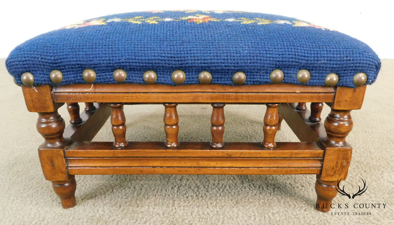 Antique Victorian Small Needlepoint Footstool