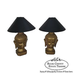 Vintage Pair of Mid Century Buddha Head Lamps by Plasto Co.