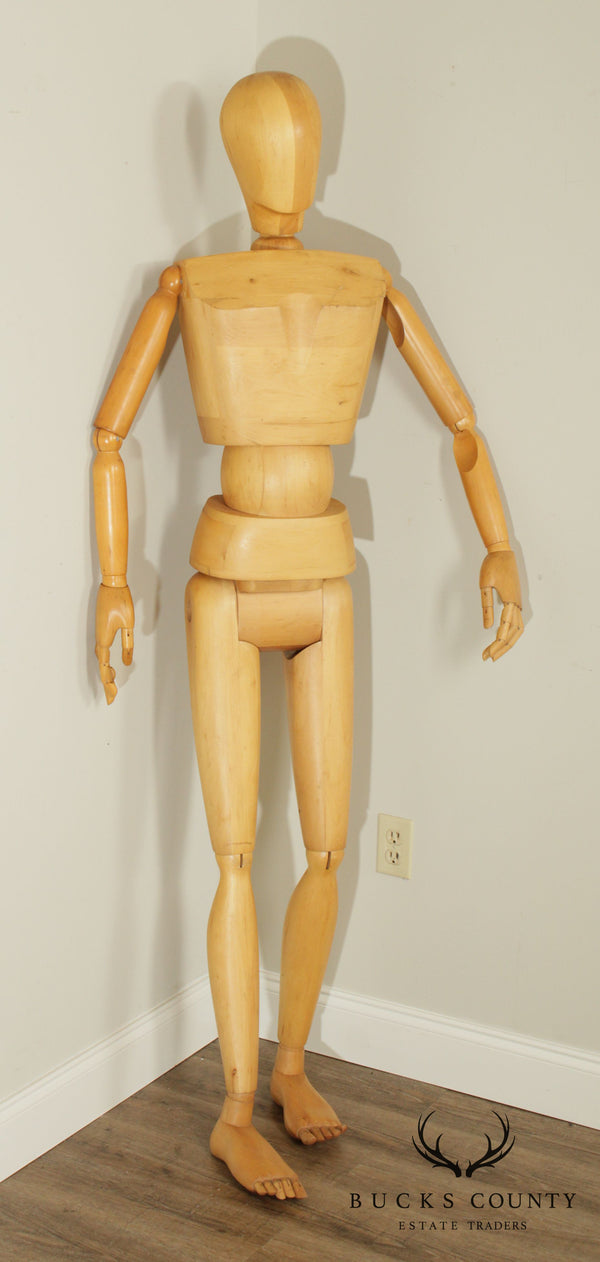 Vintage Real Size Wooden Portraiture Mannequin Figure