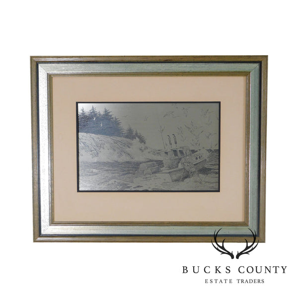 """Coast of Maine"" Custom Framed Sterling Silver Etching by Jamie Wyeth"