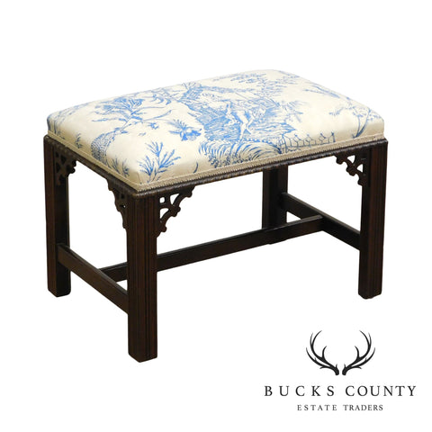 Hickory Chair Chippendale Style Mahogany Bench or Ottoman