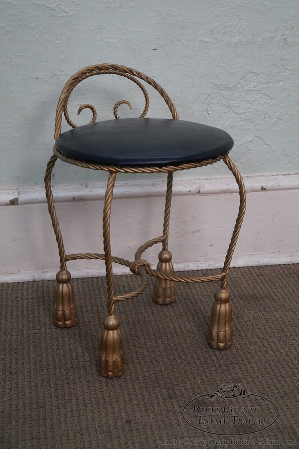 Hollywood Regency Vintage 1950s Gilt Metal Rope & Tassel Vanity Stool Chair