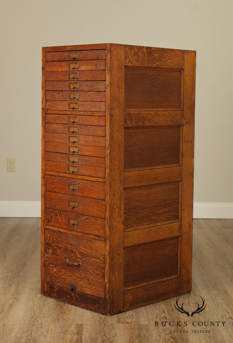 Antique Multi Drawer Oak File Cabinet