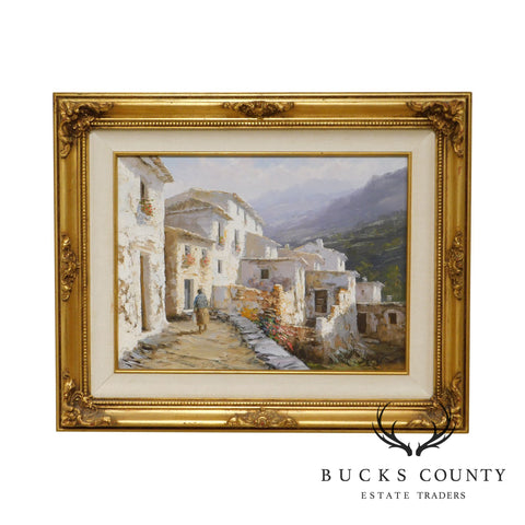 Manuel Cuberos Oil on Canvas Painting of a Spanish Village in Mountains