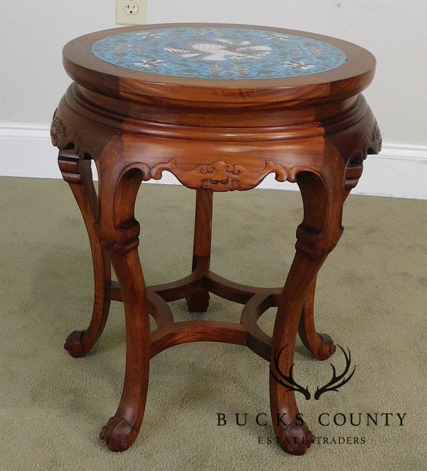 Asian Hardwood Vintage Cloisonne Top Pedestal Stand Side Table