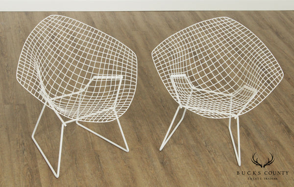 Harry Bertoia for Knoll Vintage Pair White Diamond Lounge Chairs