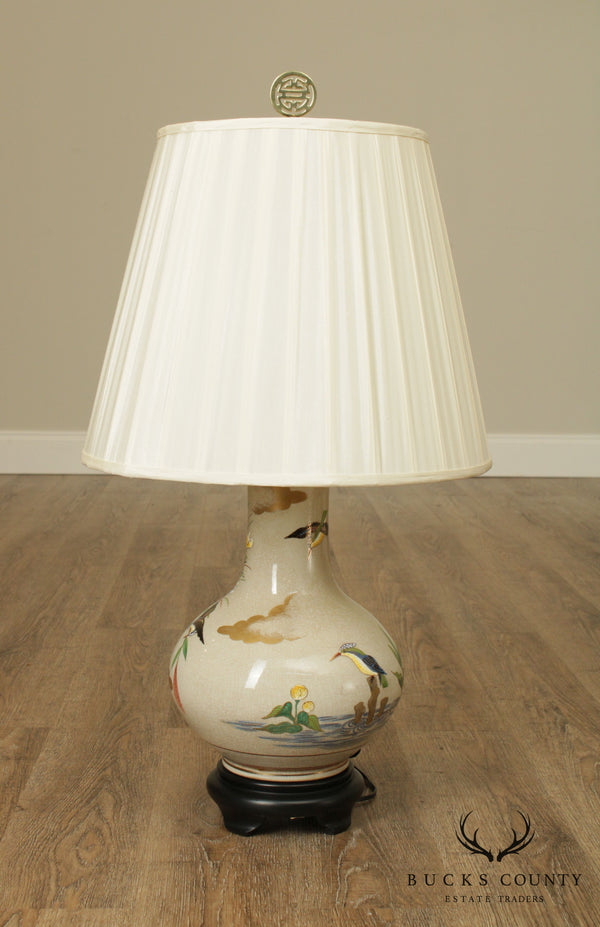 Vintage Asian Porcelain Table Lamp with Birds