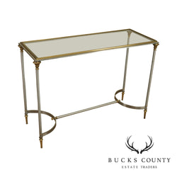 Directoire Style Brushed Steel, Brass and Glass Console Table