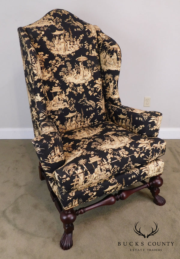 Baker Statley Homes Collection Spanish Baroque Style Mahogany Wing Chair
