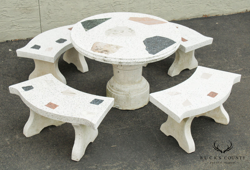 Mid Century Modern Terrazzo Round Garden Table with 4 Benches