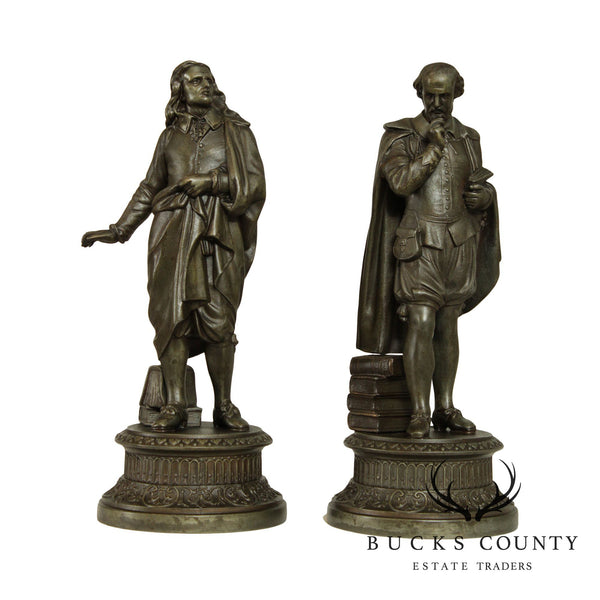 William Shakespeare & John Milton Pair Antique Spelter Figures