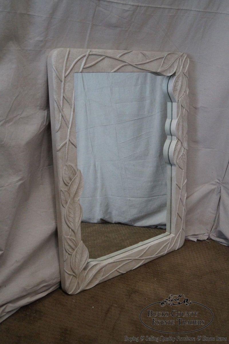 Mid Century Art Nouveau Style Painted Carved Leaf Frame Mirror