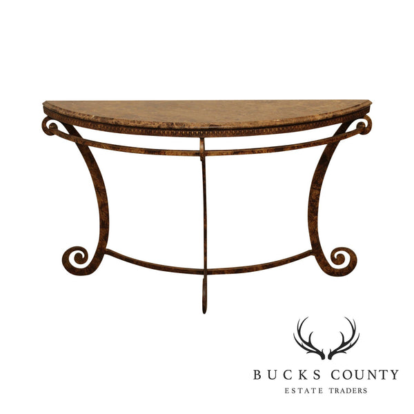 Tuscan Style Wrought Iron Base Demilune Marble Top Console Table